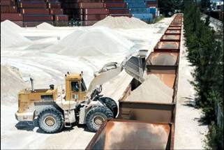 a front loader putting gravel into a rail car for transport