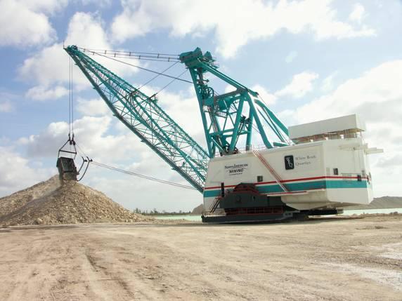 a 105-cubic-yard dragline moving limestone