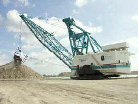 a 105-cubic-yard dragline moving limestone