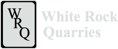 "White Rock Quarries Logo, black ""WRQ"" diagonally on a gray rectangle with black border and text ""White Rock Quarries"" to the right"